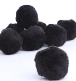 Pom-poms Black 30pk 25 -40mm