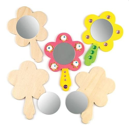 Flower Wooden Mirrors (pack Of 3)