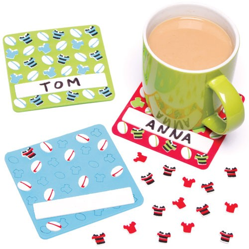 Rugby Foam Coasters (pack Of 6)